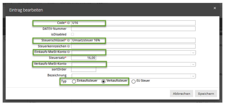 Screenshot Pop Up Steuerschlüssel